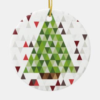 Arte geométrico moderno del árbol de navidad adorno navideño redondo de cerámica