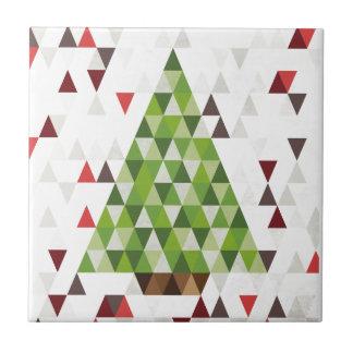 Arte geométrico moderno del árbol de navidad azulejo cuadrado pequeño