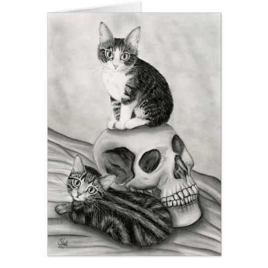 Arte gótico de la fantasía del gótico del cráneo tarjeta de felicitación
