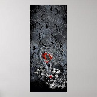 Arte gótico del poster del corazón del cuervo