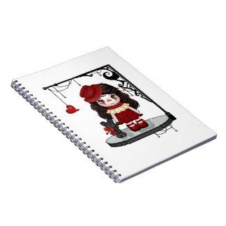 Arte gótico rojo del pixel de la muñeca del amor libros de apuntes con espiral