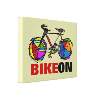 arte gráfico de la bicicleta colorida impresión en lona estirada