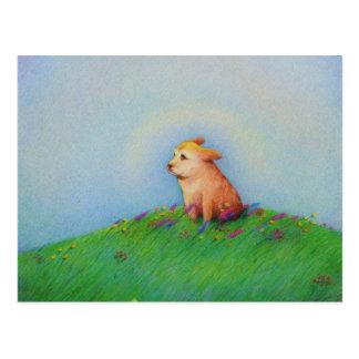 Arte hermoso de oro del día de primavera del perro postal