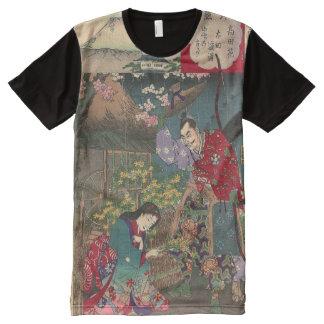 Arte hermoso japonés del samurai del geisha camiseta con estampado integral