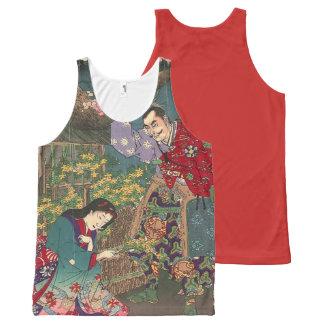 Arte hermoso japonés del samurai del geisha camiseta de tirantes con estampado integral