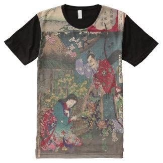 Arte hermoso japonés del samurai del geisha camisetas con estampado integral