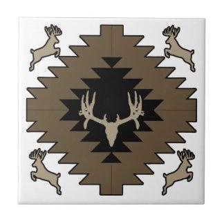 Arte indio americano de los ciervos del dólar azulejo cuadrado pequeño
