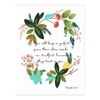 Arte inspirado cristiano - 26:3 de Isaías Postal