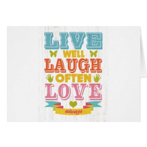 Arte inspirado - vivo, risa, amor tarjeton