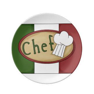 Arte italiano de la palabra del cocinero plato de cerámica