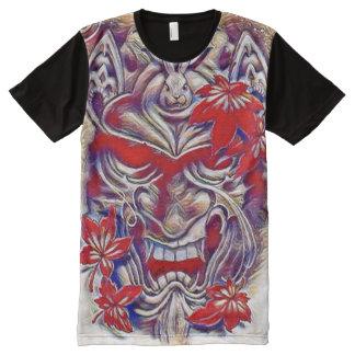 Arte japonés de la acuarela de la máscara del camiseta con estampado integral