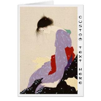 Arte japonés de la mujer de la letra de amor de tarjeta