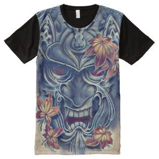 Arte japonés del acrílico de la máscara del camiseta con estampado integral