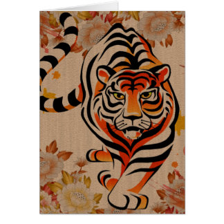 arte japonés del tigre tarjeta pequeña