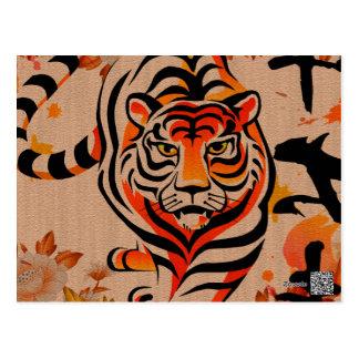 arte japonés del tigre postal