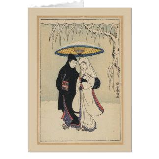 Arte japonés del vintage hermoso, tarjeta del