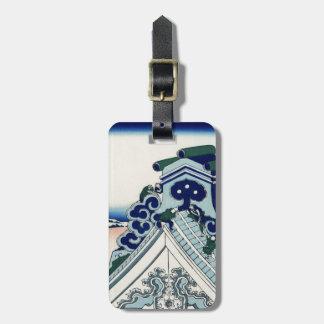 Arte japonés Fuji del vintage del templo de Etiqueta Para Maletas