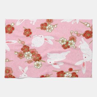 Arte japonés: Toalla de cocina rosada de Sakuras y