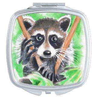 Arte lindo de la acuarela del mapache espejos para el bolso