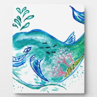 Arte lindo de la ballena placa expositora