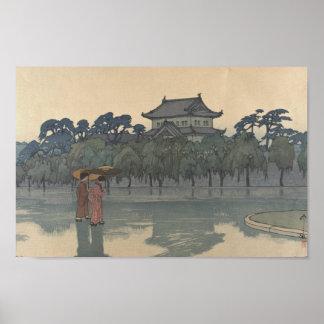 Arte lluvioso japonés del paisaje de Ukiyo-e del