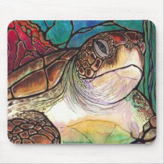 Arte magnífico del estilo del vitral de la tortuga alfombrilla de ratón