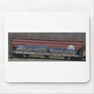 Arte marcado con etiqueta furgón del tren alfombrilla de raton