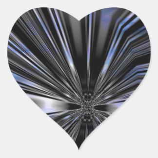 Arte metálico azul y negro de la mariposa pegatina en forma de corazón