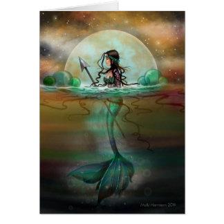 Arte místico de la fantasía de la sirena del mar tarjeta de felicitación