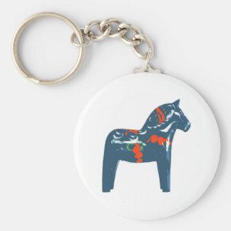 Arte moderno azul Suecia del caballo de Dala Llavero Redondo Tipo Chapa