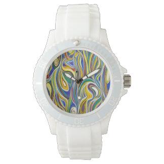Arte moderno colorido reloj de mano