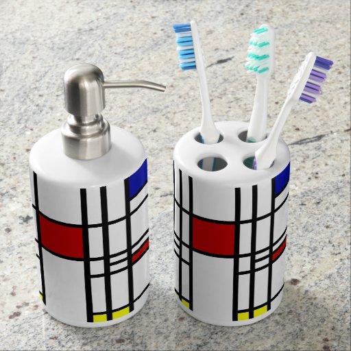 Arte moderno de Mondrian Sets De Baño