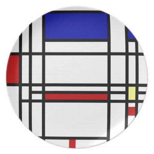 Arte moderno de Mondrian Platos De Comidas
