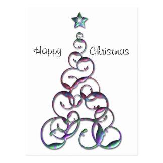 Arte moderno del árbol de navidad postal
