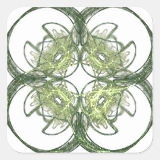 Arte moderno del fractal del trébol de la hoja de pegatina cuadrada