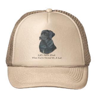 arte negro del retrato del perro de Labrador con Gorro De Camionero