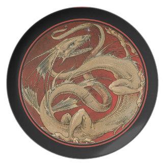 Arte negro Nouveau del saber del dragón Plato De Cena