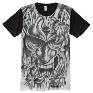 Arte negro y blanco del carbón de leña de la camisetas con estampado integral