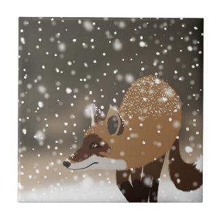 Arte nevoso del bosque del invierno del zorro azulejo cuadrado pequeño