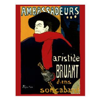 Arte Nouveau Aristide Bruant Ambassadeurs del vi Tarjeta Postal
