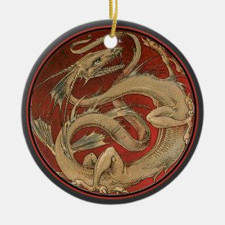 Arte Nouveau del saber del dragón Adorno Redondo De Cerámica