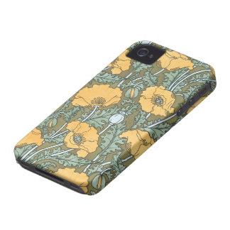 Arte Nouveau, flores del vintage de la amapola en Carcasa Para iPhone 4