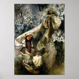 Arte Nouveau Madonna 1905 de los lirios por Mucha