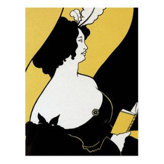 Arte Nouveau, mujer del vintage que lee un libro Postal