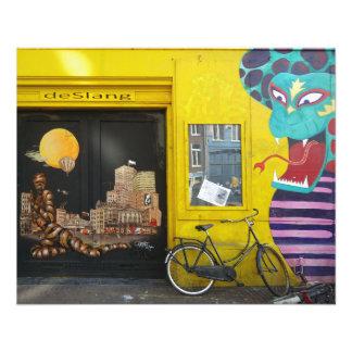 Arte Nr de la calle de la pintada de Amsterdam. 4 Tarjeta Publicitaria