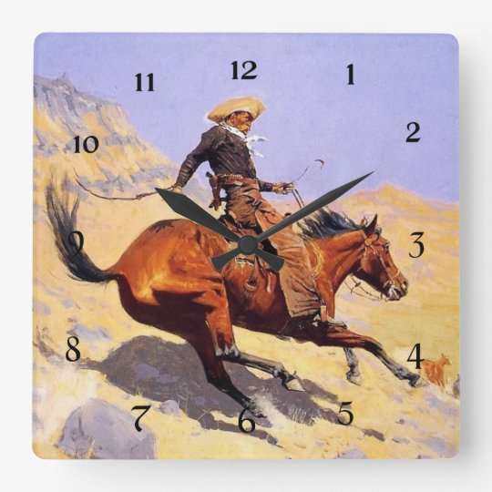 "Arte occidental de Federico Remington ""el vaquero"" Reloj Cuadrado"