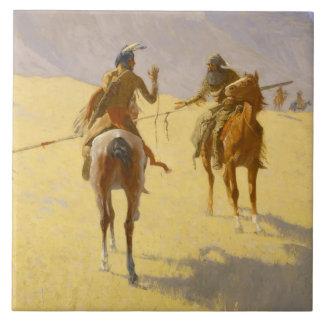 "Arte occidental de Federico Remington ""la Azulejo Cuadrado Grande"