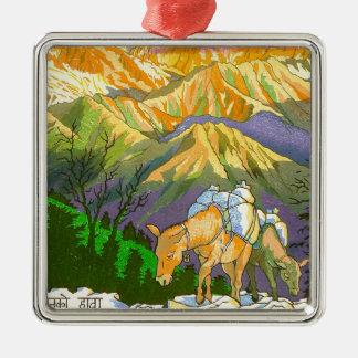 Arte oriental fresco de Nepal del paso de montaña Adorno Cuadrado Plateado