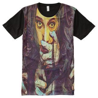 Arte oscuro de la fantasía del horror del chica camisetas con estampado integral