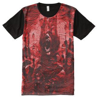 Arte oscuro del horror de la muerte sangrienta camiseta con estampado integral